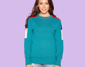 Ski Sweater Vintage 90s Teal Green Minimal Sports Athletic Winter Snow Fitted Skiwear Crewneck Long Sleeved Pullover Knit Women's Small