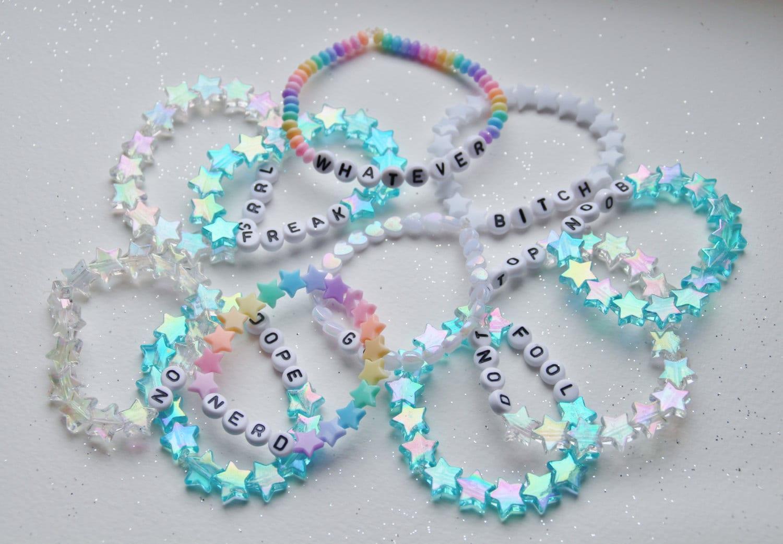 TWO CUSTOM bracelets cute kawaii beaded pastel beautiful shiny