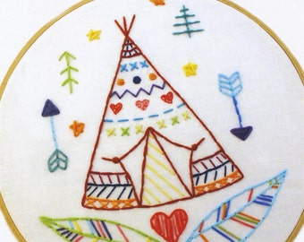 Embroidery Kit - Tipi Embroidery Pattern by Lova Revolutionary including floss