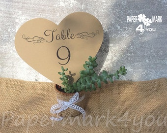 Kraft Big Hearts Table Number_ Highly customizable-Heart Table Number_Personalized Design By Request