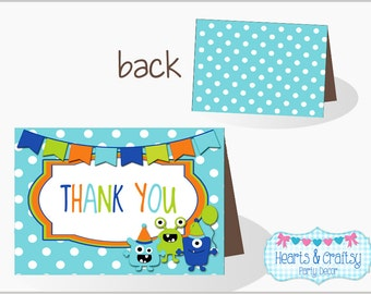 Monster Birthday Thank You Cards / Monster Bash Thank You Card / Little Monster Birthday Thank You Card - FILE to PRINT