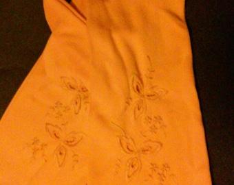 Soft elegant stretchy tangerine gloves