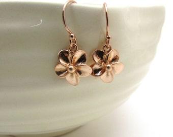 Rose gold plumeria earrings, rose gold jewelry, small flower earrings, rose gold earrings, floral Hawaiian jewelry, feminine dangle earrings