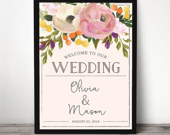 Custom Welcome Sign - DIGITAL FILE - Wedding Welcome Sign - Bridal Shower Welcome Sign - Baby Shower Welcome Sign - Sweet Blooms Welcome