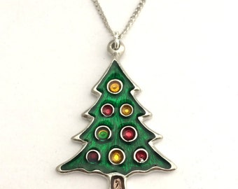 Christmas Tree Necklace in English Pewter, Handmade, Gift Boxed, Xmas (h-24)