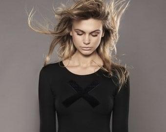 X Bodysuit/ Black Bodysuit/ Black Leotard/ Gift For Women/ Womens Bodysuit/ Womens Clothing/ 'Bodytalk' Bodysuit