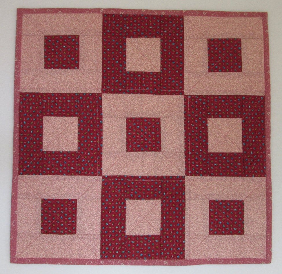 Cockerels Are Scattered All Over This Fabric Made From: Doll Quilt 17.5 X 17.5 Cranberry Mauve Calico