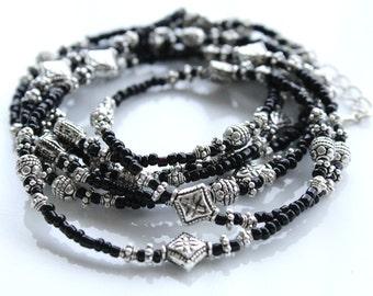 Dainty Wrap Bracelet, Lariat, Beaded Wrap Bracelet, Bohemian Jewelry, Long Necklace, Urban Gypsy, Black Silver Stacked Bracelet, Boho Silver