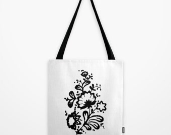 Floral tote bag black and white totes flower drawing cool shopping bag canvas tote print bag modern dream of a famous movie