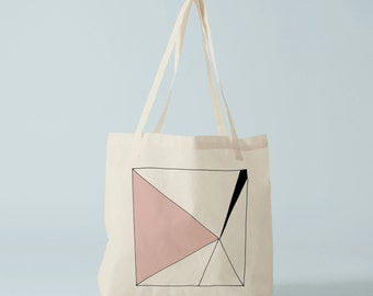 Pink Triangle Tote bag. Cotton bag, sports bag, yoga bag, baby bag, groceries bag, school bag.