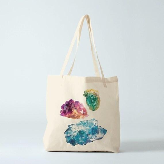 Tote bag Modern Geology V, cotton bag, fabric shopper, reusable bag, cotton tote, gems, minerals, engraving, botany, novetly gift coworker.
