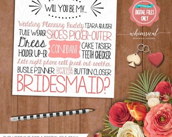 """Ask Bridesmaid Card """"Cake Tastin, Pink"""" (Printable File Only) Will You Be My Bridesmaid, Be In My Wedding, Ask Bridesmaid, Be In Our Wedding"""