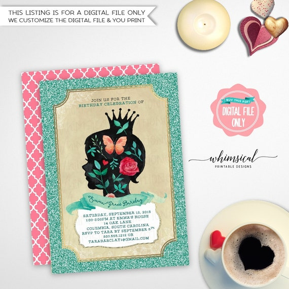 """Birthday Party Invitation """"Floral Silhouette"""" (Printable"""