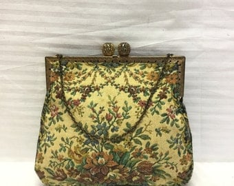 French Tapestry purse, Bags, Purses, Floral Tapestry, Kiss Lock, Made in France,handbag