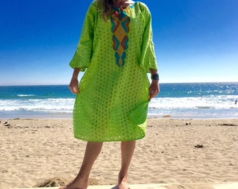 Embroidered muumuu dress green swimsuit cover large