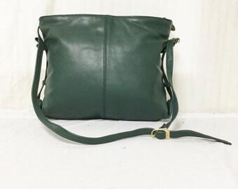 Free Ship Green Leather Purse Shoulder Bag
