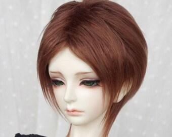brown medium short BJD doll fur wig SD MSD yosd