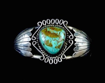 46g Vintage Navajo Sterling Silver Cuff Bracelet w MAGNIFICENT Royston Turquoise! Super Gorgeous Stone! Fabulous Silver Work!