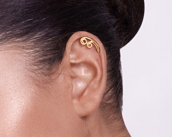Gold Spiral Cartilage Earring -gold ear piercing , gold ear cuff , cartilage earring , spiral earring, gift for her