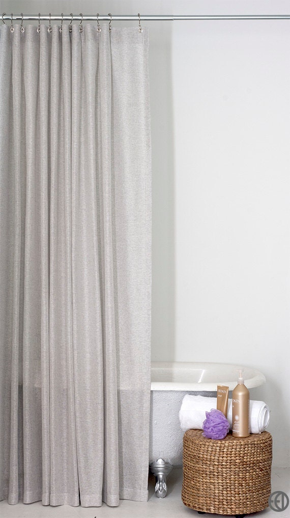 light grey shower curtain in standard and extra long sizes