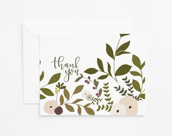 Floral Thank You Card Set of 8 | Illustrated Floral Stationery Cards with Hand Lettered Calligraphy : Wild Garden Collection