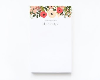 Personalized Notepad | Large Floral Illustrated Custom Notepad, Customized Stationery : Blooming Wreath Collection Personalized Stationery