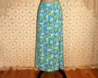 90s Long Floral Skirt Rayon Chiffon Maxi Skirt Large Blue Green Womens Skirts Floral Grunge Sigrid Olsen Size 12 Skirt Vintage Clothing
