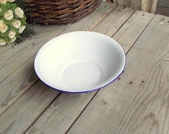 Enamel Wash Basin - Vintage White Bowl - Enameled Metal Bowl - White Enamel Bowl With Blue Border - French Home Decor - French Enamelware