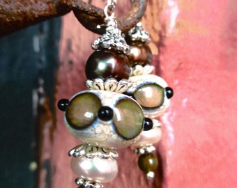 Handmade Earrings with SRA Lampwork Beads and Freshwater Pearls