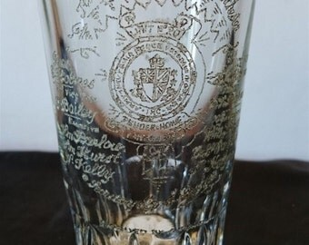 Antique Hand Etched Canadian Military Drinking Glass WWI Memorabilia  Canada 1918