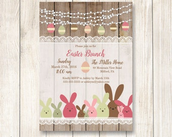 Easter Brunch Invitation, Rustic Bunny Easter Dinner Invitation, Printable Rustic String of Lights Easter Invite, Pastel Easter Invite