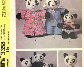 McCall's 3358  Panda Family with Clothes Plus Baby Panda Sock Toy Sewing Pattern