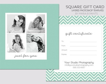 Square Gift Certificate Template - 5x5 Photography Template - Chevron - Simple - Easy - Front & Back - Double sided