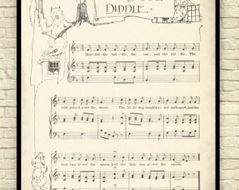 Sheet Music Art, Nursery Rhyme, Sheet Music Wall Art, Children's Art, Sheet Music Art Print, Hey Diddle Diddle,  Mother Goose Songs.
