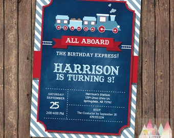Train Invitation. Train Birthday Invitation. Train Party Invitation. Train Party Invitation. Custom Birthday Invitation.