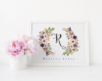 floral monogram printable · initial print · name art print · monogram art · floral wreath · nursery name art print · nursery wall decor