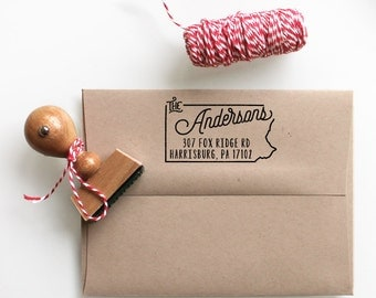 Custom Pennsylvania State Return Address Stamp, perfect gift for holidays, housewarming parties and weddings or as Business Card