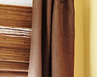 Chocolate  Burlap Curtain 52'' for the bedroom - choose your length - Washed burlap