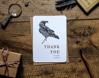 Thank you bird greetings card * nature * crows give gifts *