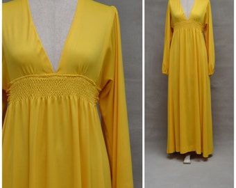 Vintage dress, 1970's Maxi dress, Bold canary yellow full length dress with empire line silhouette, Plunge neckline, 70's evening gown