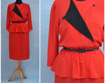 Vintage dress, 1980s peplum dress, Bold red and black two tone dress, attractive crossover neck detail,  Power dressing silhouette