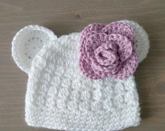 Crochet Polar Bear Hat With Flower, Baby Polar Bear Hat, Baby Bear Hat, Crochet Baby Hat, White Baby Hat, Newborn Photo Prop, Baby Girl Hat