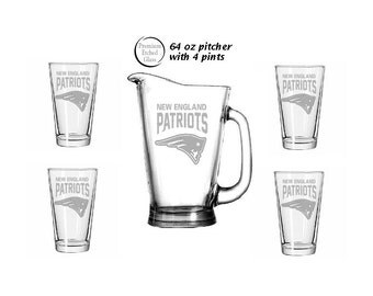 Patriots Beer Glass Etsy