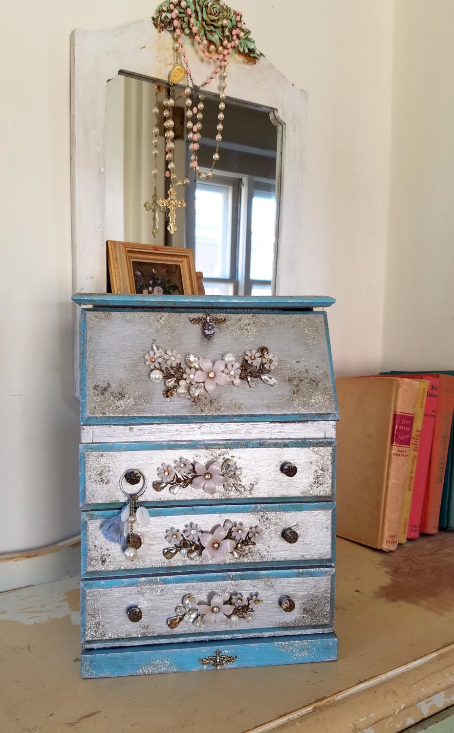 SILVER Wood Jewelry Armoire with Unique Charm Jewelry
