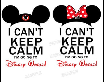 2 Pack I Can't Keep Calm I'm Going to Disney World Mickey and Minnie Mouse Vacation T-Shirts