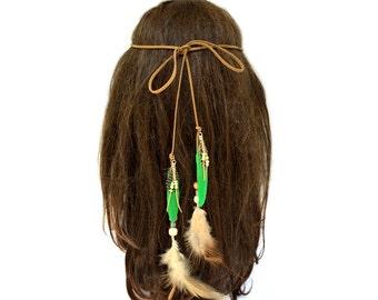 Feather Headband Toddler, Hair Feathers, Boho Feather Headpiece, Tribal Headband, Feather Hair Band, Hippie, Bohemian, Green, Girl, Party