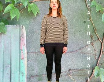 Minimal Striped V neck Medium Wool Sweater