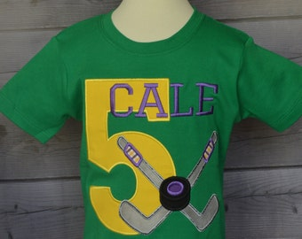 Personalized Birthday Hockey Pucks Applique Shirt or Onesie Boy or Girl