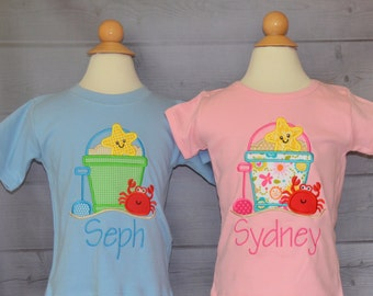 Personalized Floral Sand Beach Pail Bucket Starfish Crab Shovel Applique Shirt or Onesie Girl