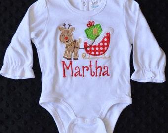 Reindeer Christmas Sleigh Applique Shirt or Onesie Boy or Girl